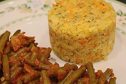 Bohnengemüse mit Käsebulgur