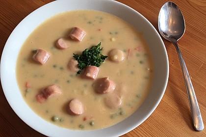 Kartoffelsuppe mit Erbsen und Mettwürstchen 37