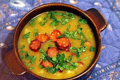 Kartoffelsuppe mit Erbsen und Mettwürstchen 6