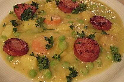 Kartoffelsuppe mit Erbsen und Mettwürstchen 14