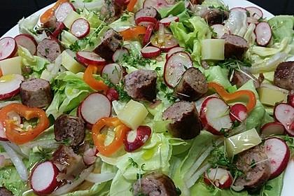 Bratwurstsalat mit Paprika, Radieschen und Zwiebeln 1
