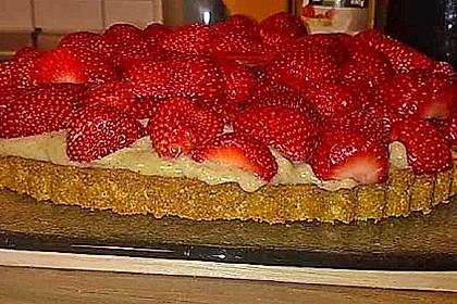 Veganer Erdbeerkuchen mit Vanillepudding und Biskuitboden (Bild)