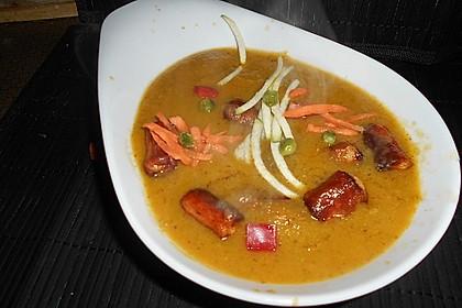 Gemüsesuppe mit Würstchen 6