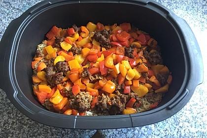 Curiosias Hackfleisch - Paprika - Reisauflauf aus dem Römertopf 2