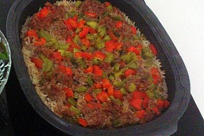 Curiosias Hackfleisch - Paprika - Reisauflauf aus dem Römertopf 12