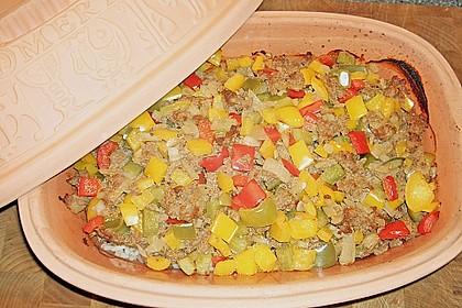Curiosias Hackfleisch - Paprika - Reisauflauf aus dem Römertopf 3