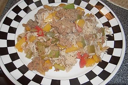 Curiosias Hackfleisch - Paprika - Reisauflauf aus dem Römertopf 8
