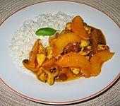 Hähnchengeschnetzeltes mit Pfirsich-Currysoße (Bild)