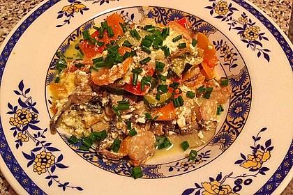Gemischtes Gemüse mit Gambas in einer Orangen-Zitronensauce nach Ukurts Art
