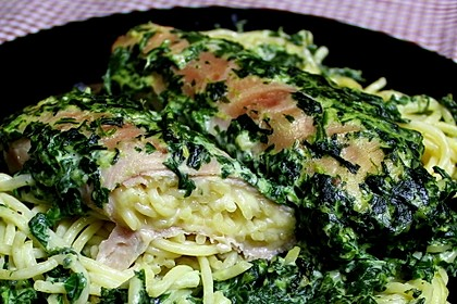 Spaghetti-Röllchen-Auflauf mit Spinat 1