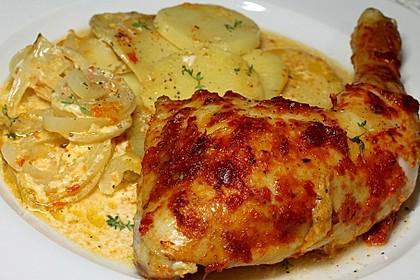 Hähnchenschenkel mit Kartoffeln und Knoblauch 3