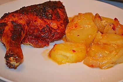 Hähnchenschenkel mit Kartoffeln und Knoblauch 4