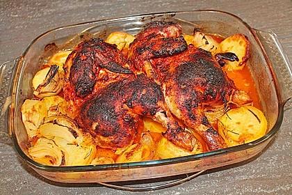 Hähnchenschenkel mit Kartoffeln und Knoblauch 15