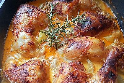 Hähnchenschenkel mit Kartoffeln und Knoblauch 1