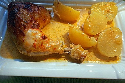 Hähnchenschenkel mit Kartoffeln und Knoblauch 9