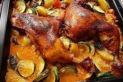 Hähnchenschenkel mit Kartoffeln und Knoblauch