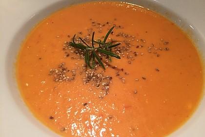 Tomaten-Paprika-Möhren Suppe mit Ingwer und Zitronengras (Bild)