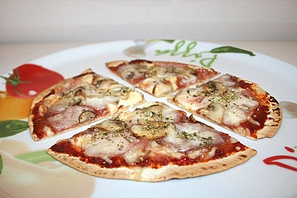 Tortilla-Pizza, besonders fettarm
