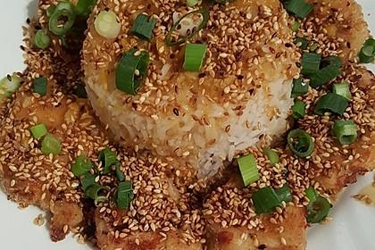Orangenhuhn aus dem Ofen mit Sesam (Bild)