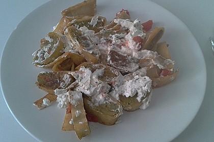 Gebratene Maultaschen mit Tomaten und Ziegenkäse