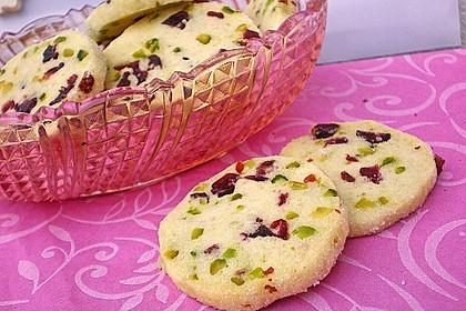 Sablés mit Pistazien und Cranberries
