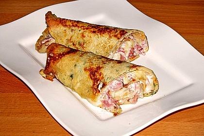 Pikante Pfannkuchen mit Schinken und Käse 2