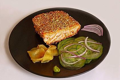 Lachsfilet mit Sesam-Wasabi-Kruste