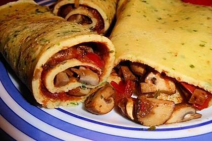 Vegetarische Kräuterpfannkuchen mit Tomaten-Pilz-Füllung 4