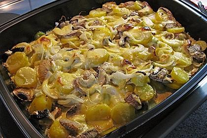 Schnelles saftiges Kartoffel - Pilz - Gratin 6