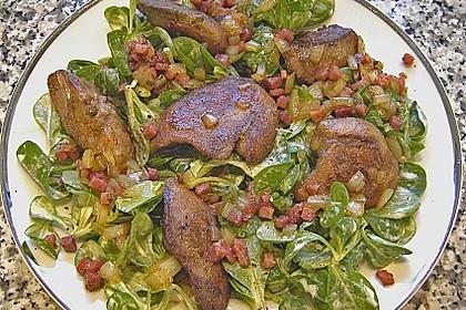 Feldsalat mit Leber und Speck 1