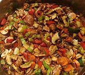 Würziges Hähnchen aus dem Wok mit Gemüse (Bild)