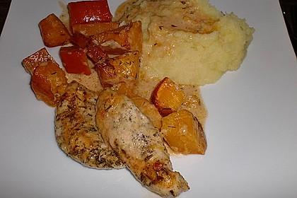 Hähnchenfiletspitzen mit Kürbis und Parmesan (Bild)