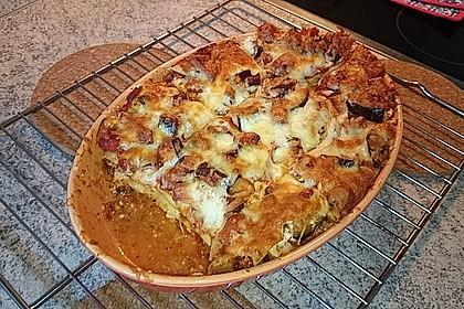 Lasagne mit Auberginen und Leberkäse