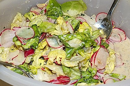 Frühlingshafter Kopfsalat mit Radieschen 11