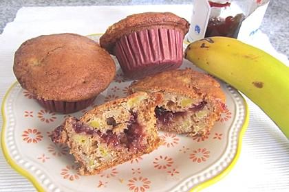 Kirsch-Bananen-Muffins mit Buchweizenmehl (Bild)