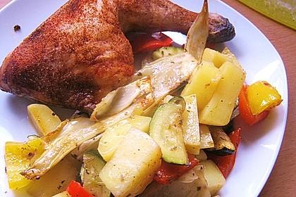 Hähnchenfleisch auf Ofengemüse mit Salbei