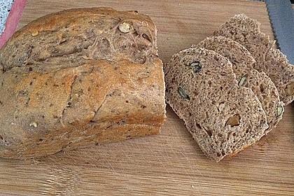 Chia-Dinkel-Vollkornbrot mit Walnüssen, Joghurt und Leinsamen