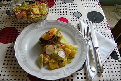 Kabeljau überbacken mit Kartoffel-Gurken-Radieschen-Salat 2
