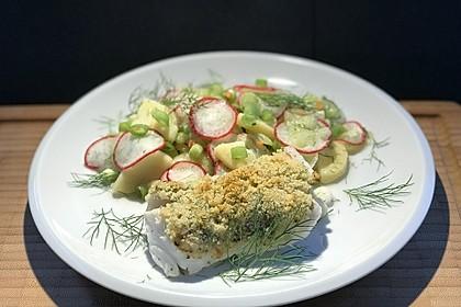 Kabeljau überbacken mit Kartoffel-Gurken-Radieschen-Salat 1