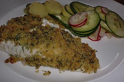 Kabeljau überbacken mit Kartoffel-Gurken-Radieschen-Salat 5