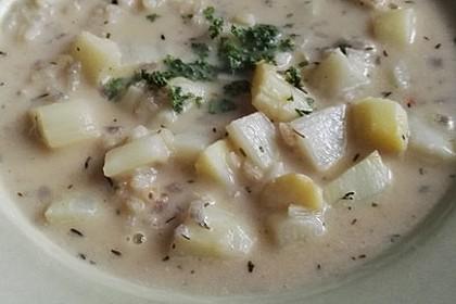 Parmesansuppe mit Spargel und Reis 3