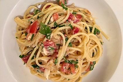 Spaghetti mit Burrata und Tomaten 6