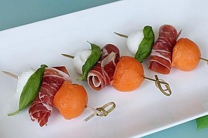 Melonen-Mozzarella-Prosciutto-Sticks