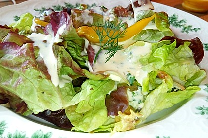 Lollo Rosso mit Salatgurke in Joghurt-Senf-Dressing 1