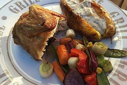 Roberts Malzbier-Mais-Grill-Giggerl mit Ofenkartoffel und Grillgemüse