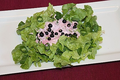 Eichblattsalat mit griechischem Joghurt-Johannisbeer-Dressing