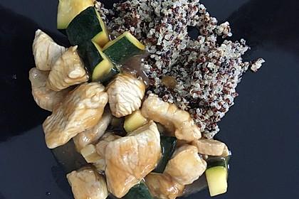 Putengeschnetzeltes in Orangensauce mit Quinoa
