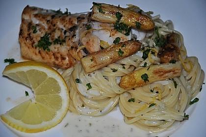 Spaghetti in Sahnesoße mit Spargel und Fischfilet 2
