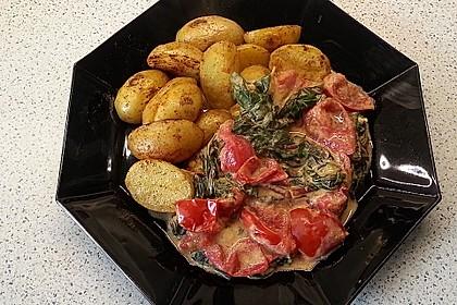 Mangold-Tomaten-Pfanne mit gebratenen Drillingen (Kartoffeln) 1