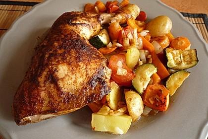 Hähnchenschenkel mit Gemüse und Kartoffeln im Backofen 2